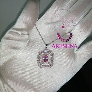 Areshna Jewelry - 925 Pink Swarovski Crystals Luxury Jewelry Set